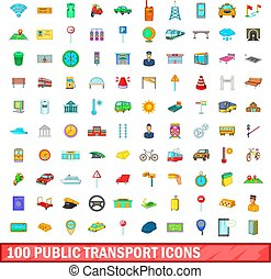 100 public transport icons set, cartoon style