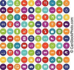 100 public transport icons set color