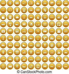 100 public transport icons set gold