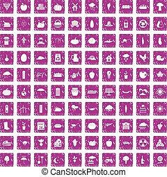 100 pumpkin icons set grunge pink