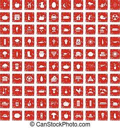 100 pumpkin icons set grunge red