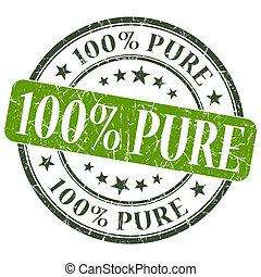 100% Pure green grunge round stamp on white background