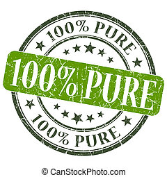 100% Pure green grunge round stamp on white background