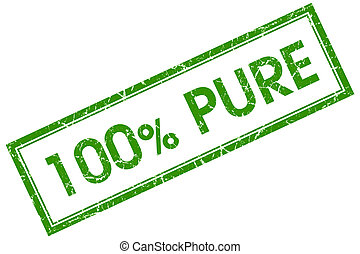 100% pure green square stamp