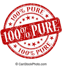 100% Pure grunge red round stamp