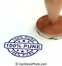 100% pure stamp means completely certified natural - 3d illustration