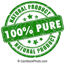 100, puro, natural, selo