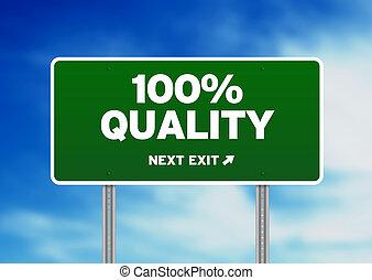 100%, qualität, straße zeichen