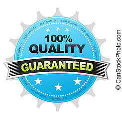 100% Quality - Blue 100& Quality Button on white background.