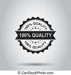 100% quality grunge rubber stamp. Vector illustration on white background. Business concept 100 percent quality stamp pictogram.