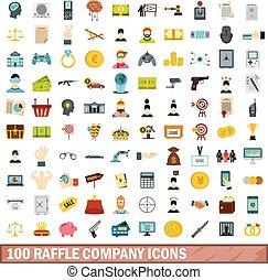100 raffle company icons set, flat style