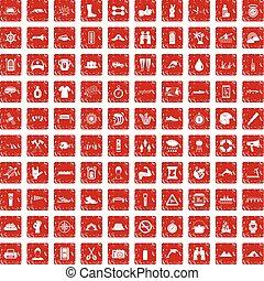 100 rafting icons set grunge red