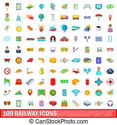 100 railway icons set, cartoon style - 100 railway icons set...