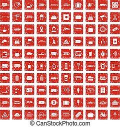 100 railway icons set grunge red