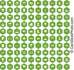 100 rain icons hexagon green