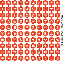 100 rain icons hexagon orange