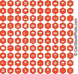 100 rain icons hexagon orange