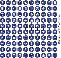 100 rain icons hexagon purple