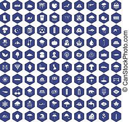 100 rain icons hexagon purple