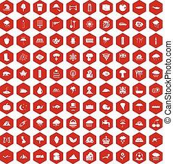 100 rain icons hexagon red