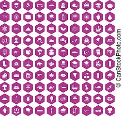 100 rain icons hexagon violet