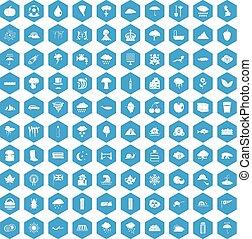 100 rain icons set blue