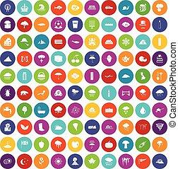 100 rain icons set color