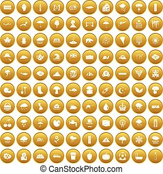 100 rain icons set gold