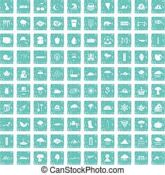 100 rain icons set grunge blue