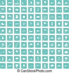 100 rain icons set grunge blue