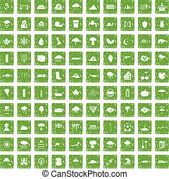 100 rain icons set grunge green