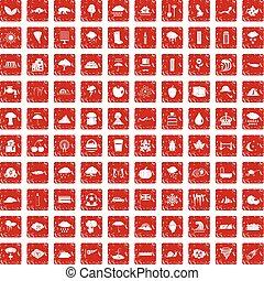 100 rain icons set grunge red