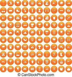 100 rain icons set orange