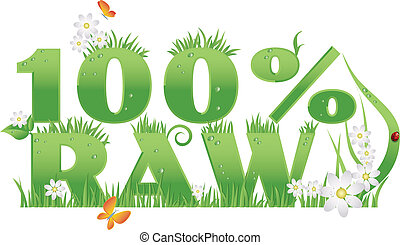 "100% Raw green food - ""100% Raw"" text decorated with..."