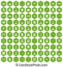 100 reader icons hexagon green