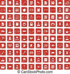 100 reader icons set grunge red