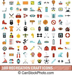 100 recreation craft icons set, flat style - 100 recreation...