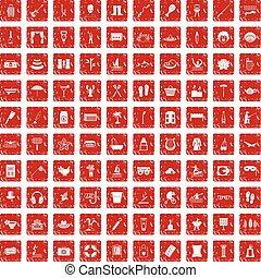100 recreation icons set grunge red