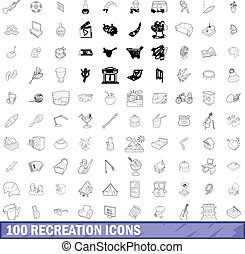 100 recreation icons set, outline style