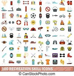 100 recreation skill icons set, flat style