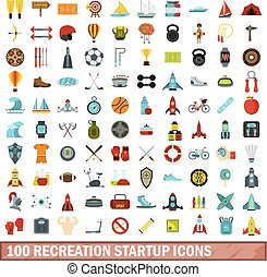 100 recreation startup icons set, flat style