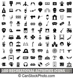 100 recreational activities icons set, simple style