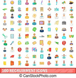 100 recruitment icons set, cartoon style