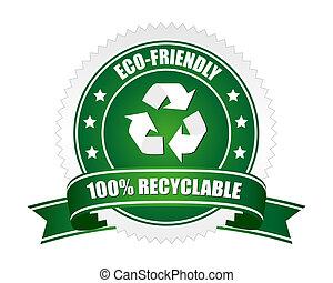 100% , recyclable , σήμα