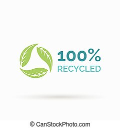 100% recycled icon design with circular green leaves symbol