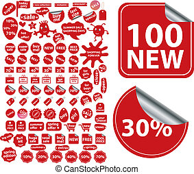 100 red shopping stickers