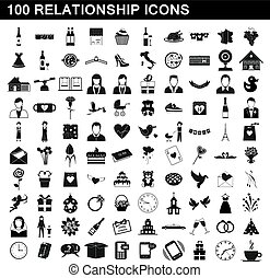 100 relationship icons set, simple style
