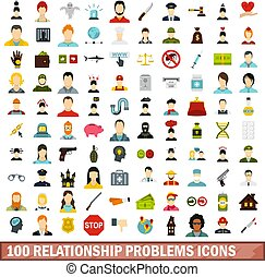 100 relationship problems icons set, flat style