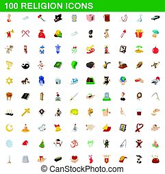 100 religion icons set, cartoon style