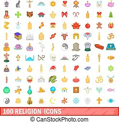 100 religion icons set, cartoon style